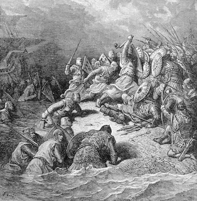 Ricardo Coração de Leão socorre os cristãos sitiados em Jaffa. Gravura de Gustave Doré.