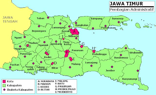 Peta Jawa Timur Lengkap Dengan Daftar 29 Nama Kabupaten dan 9 Kota