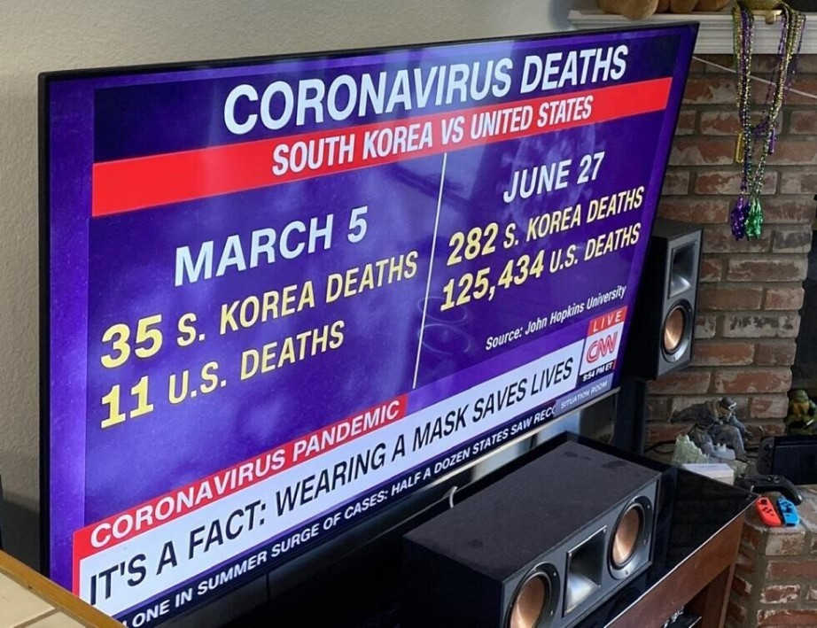 CNN이 보도한 한국과 미국의 코로나19 사망자 비교