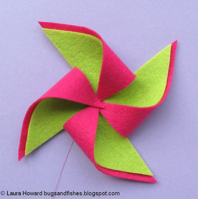 fold in the points of the felt pinwheel