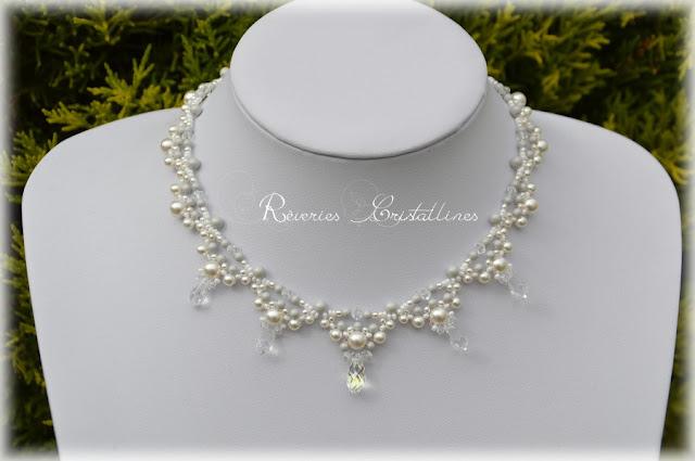 collier mariée perles nacrées blanches et grises