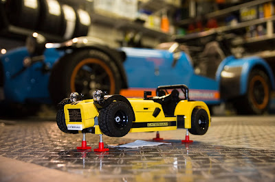 Lego Caterham 620R with matting underneath just in case the gearbox leaks!