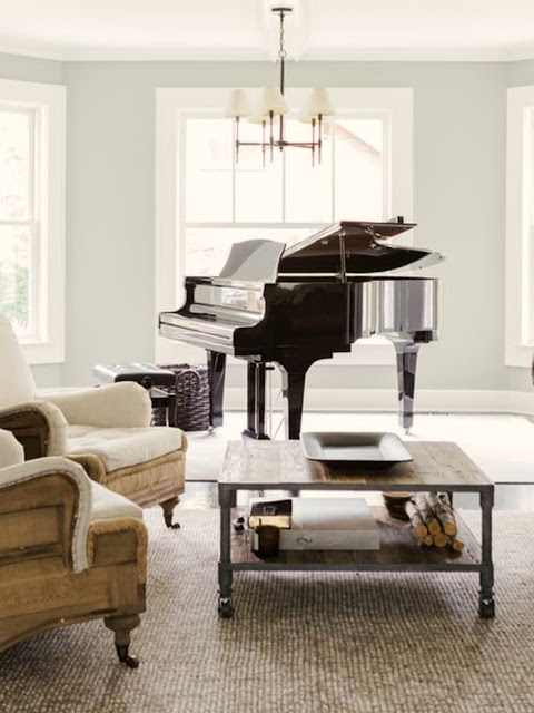 Modern farmhouse living room with black Grand piano on Hello Lovely Studio