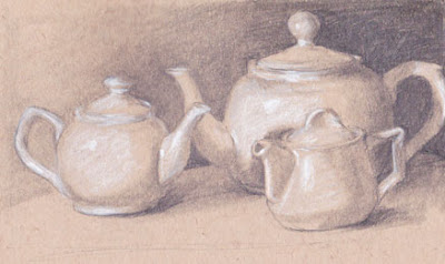 G. Sivitz, drawing, sketch, tea pots, graphite, white charcoal, colored paper