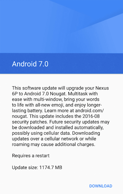 Android 7.0 Download Screen