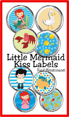 Print some sweet treats for your Little Mermaid party with these printable Hershey kiss labels.  Labels are a perfect addition to a birthday party dessert table or as a fun treat for your Ariel or mermaid fan.