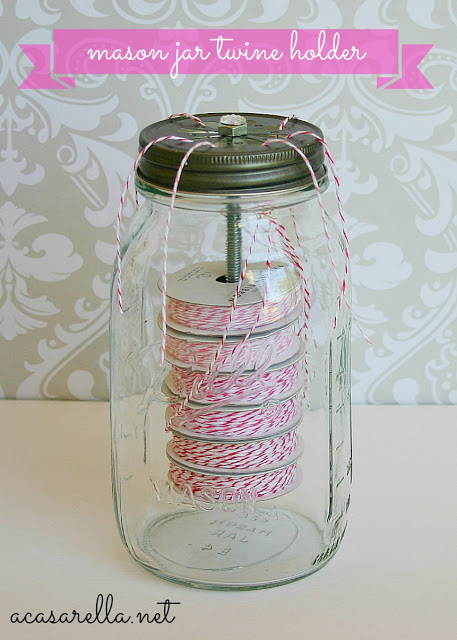 mason jar used to store twine