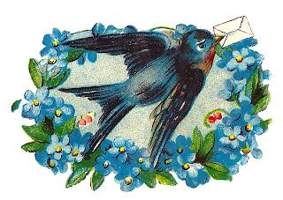 romantic love note bird image decorative artwork digital clipart