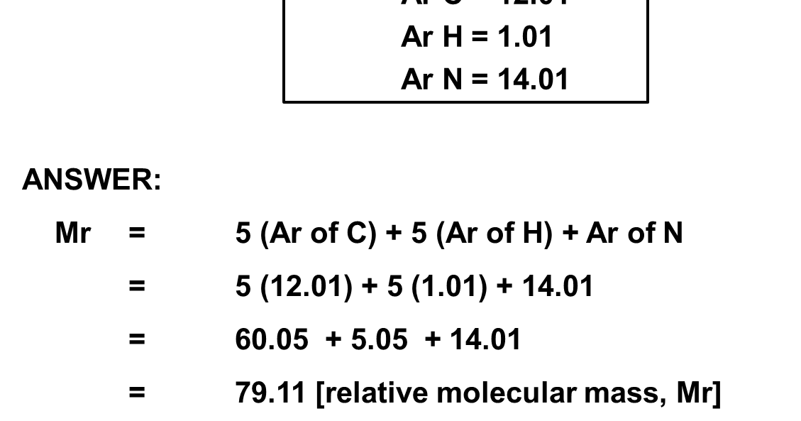 Suka Chemistry: Calculate the relative molecular mass of C5H5N