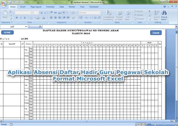 Aplikasi Absensi Daftar Hadir Guru Pegawai Sekolah Format Microsoft Excel