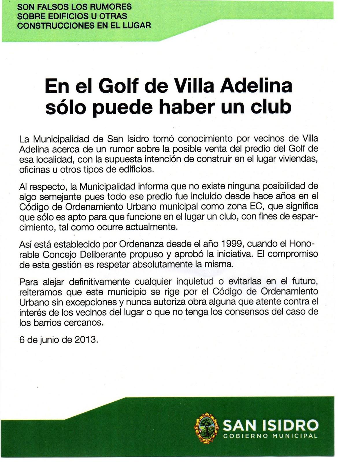 La Municipalidad de San Isidro desmiente la venta del Golf de Villa Adelina