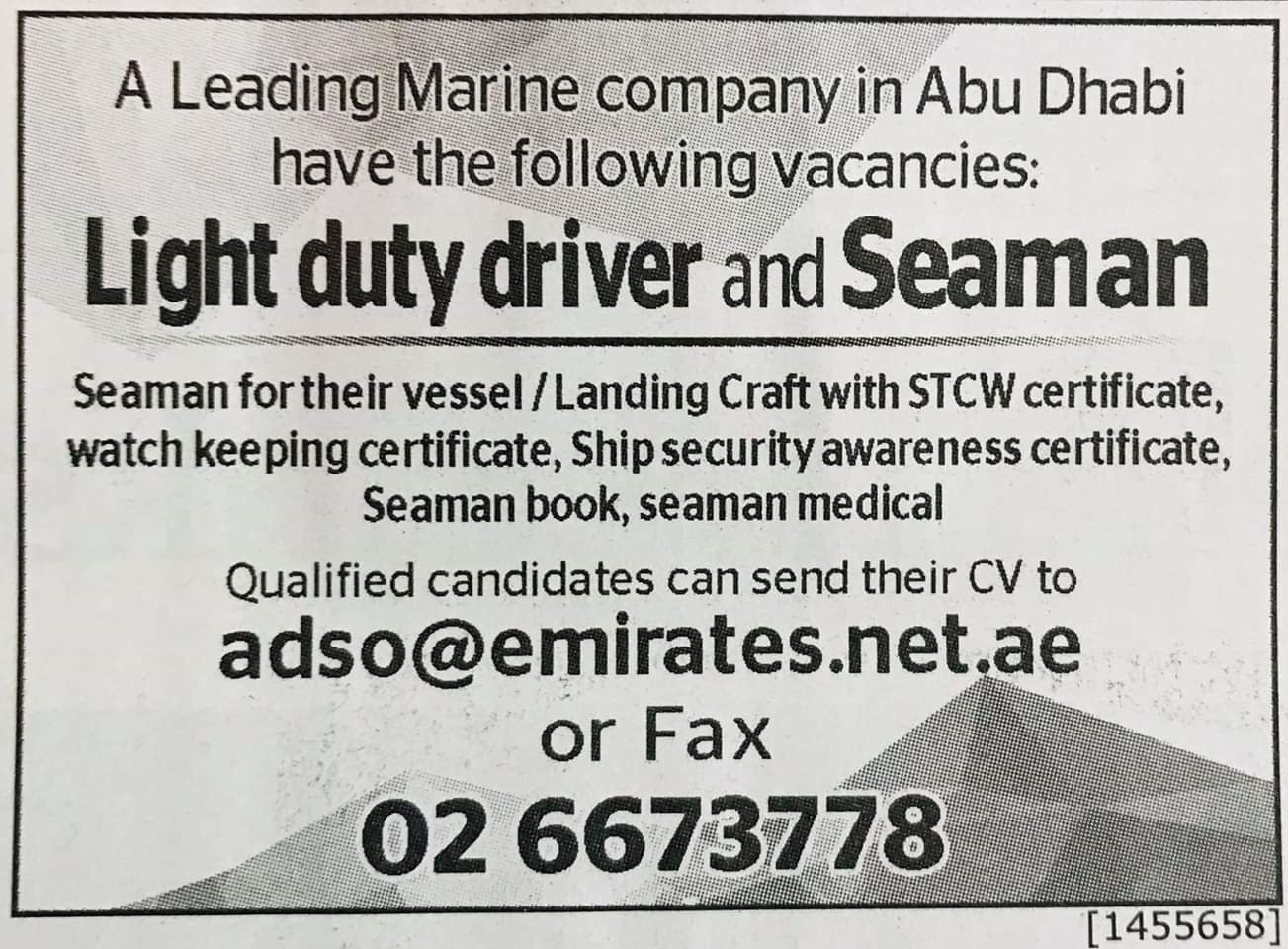 Required Light Duty Driver and Seaman UAE Jobs Local Hiring