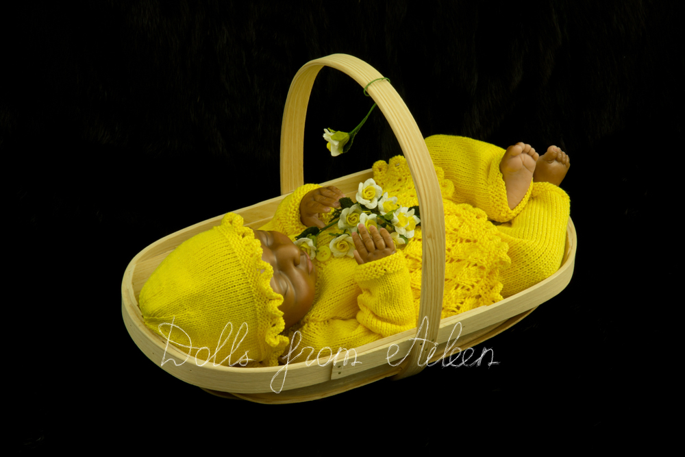 OOAK Hand Sculpted Sleeping Indian Baby Girl Doll in Basket