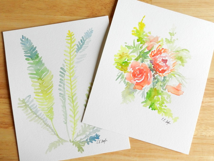Watercolor Flowers and Ferns by Elise Engh: Grow Creative