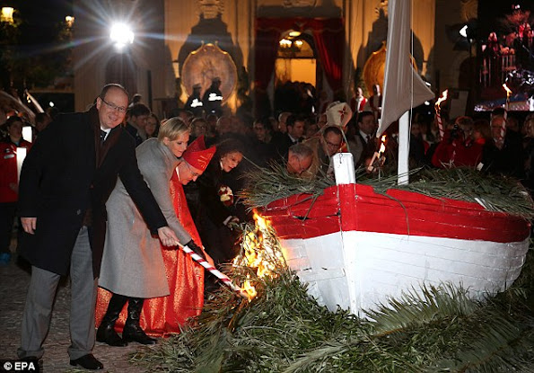 Prince Albert II of Monaco and Princess Charlene of Monaco attend the ceremony of the Sainte-Devote