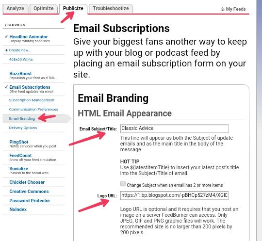 Feedburner email subscription mein apne website ka logo kaise add kare?