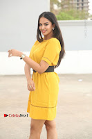 Actress Poojitha Stills in Yellow Short Dress at Darshakudu Movie Teaser Launch .COM 0061.JPG