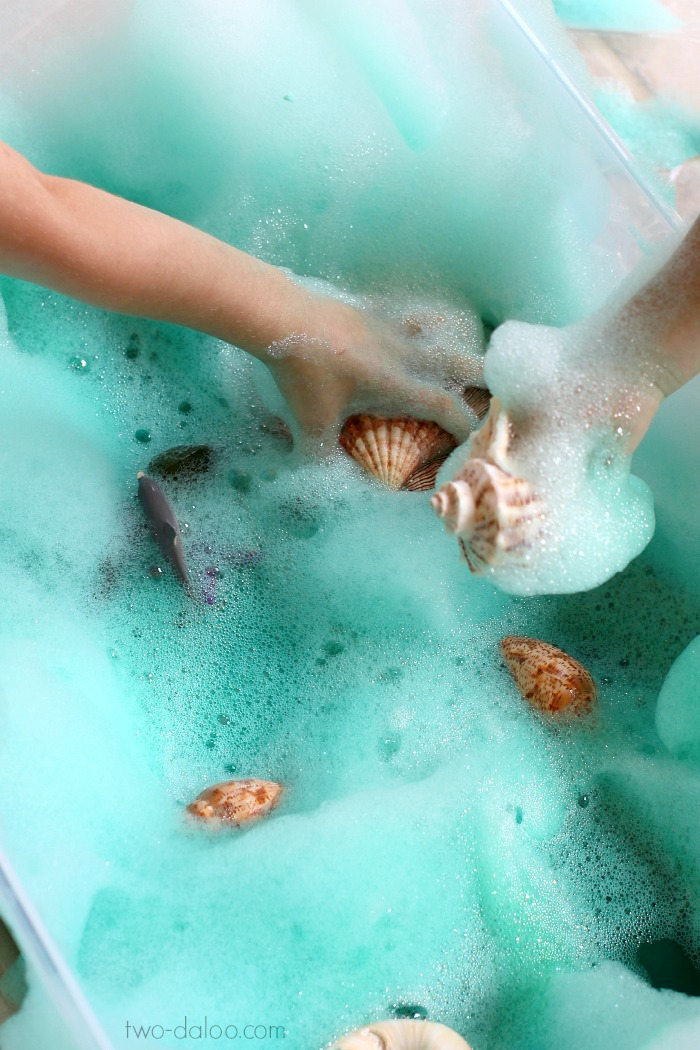 Soapy Sea Foam Sensory Play from Twodaloo