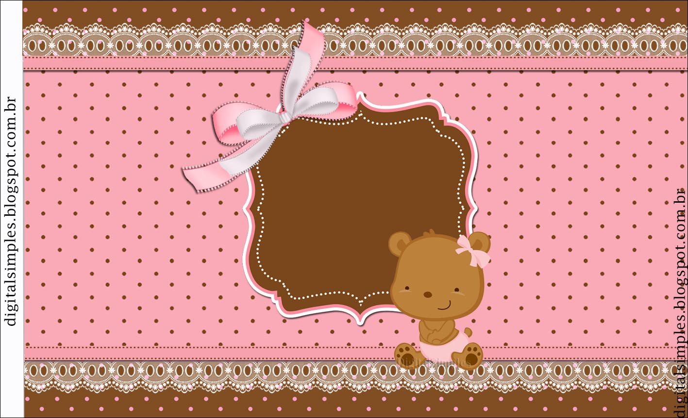Baby Girl Bear Free Printable Candy Bar Labels