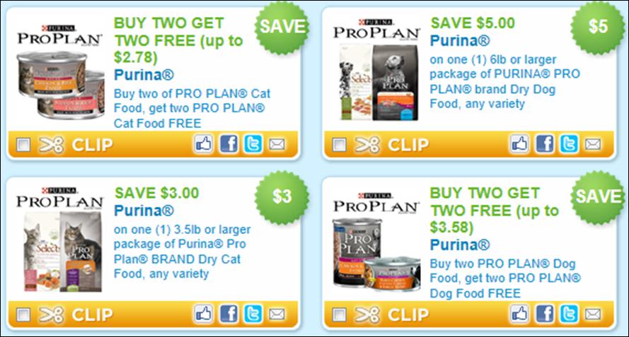 Purina Pro Plan Select Dog Food Coupons
