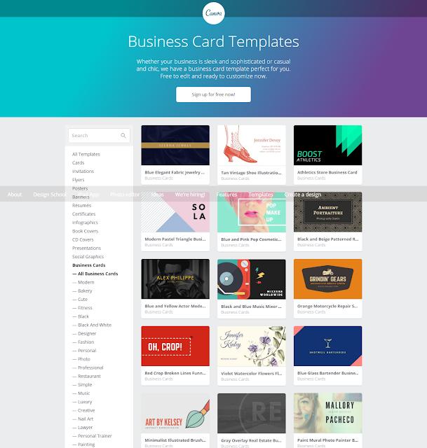 Canva, Buat Business Card Comel Secara Percuma !