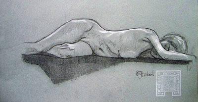 dessin, craie, nu, crayon, graphite, papier arches, gris