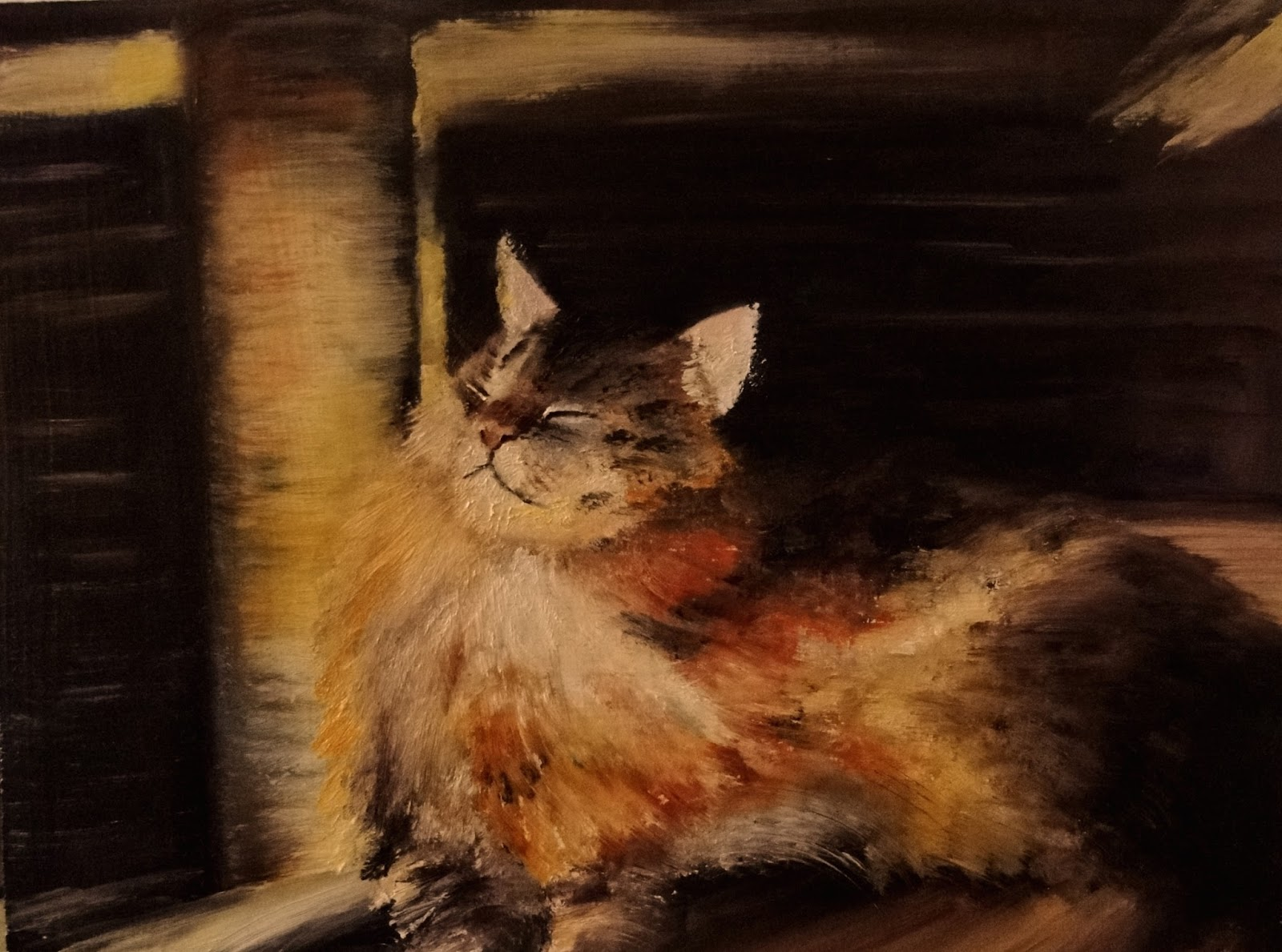 Sun spot, oil painting of Maine Coon cat sitting in the sun, a pet portrait by Karen