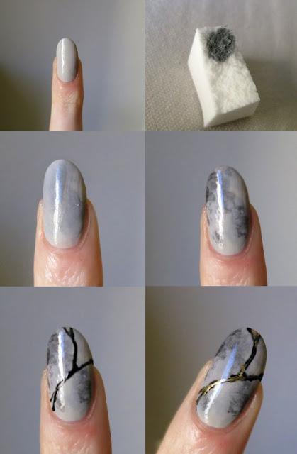 Как делать мрамор на ногтях гель лаком