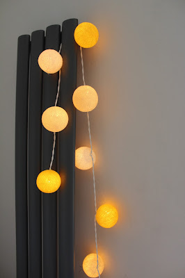 yellow cotton ball fairy lights