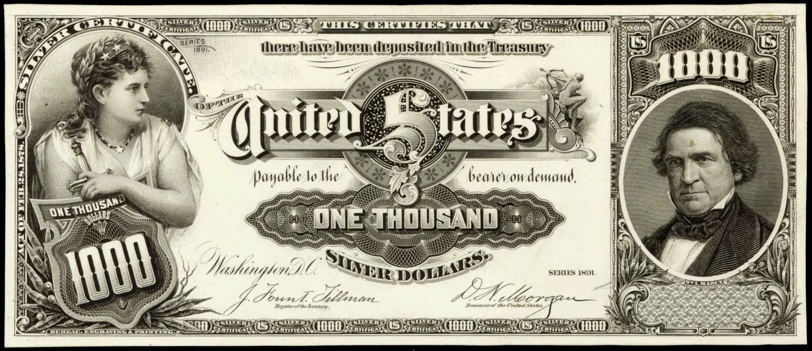 US currency 1000 Dollar Marcy Silver Certificate 1891