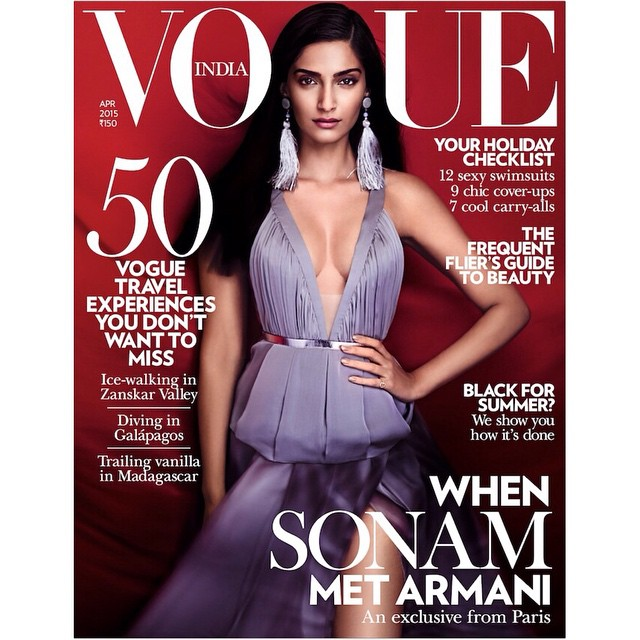hey guys im on the cover of the april issue of @vogueindia, Sonam Kapoor Vogue Magazine Bold Scans April 2015 Issue