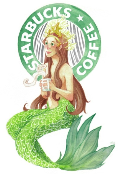 starbucks coffee mermaid having a cup of coffee