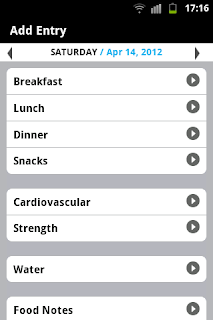 A screen capture of the available options in My Fitness Pal