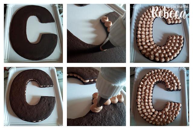 Receta tarta abecedario de chocolate de galleta y crema: montaje