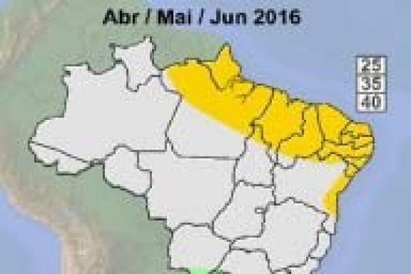 Nordeste e parte do Norte devem ter menos chuvas no próximo trimestre
