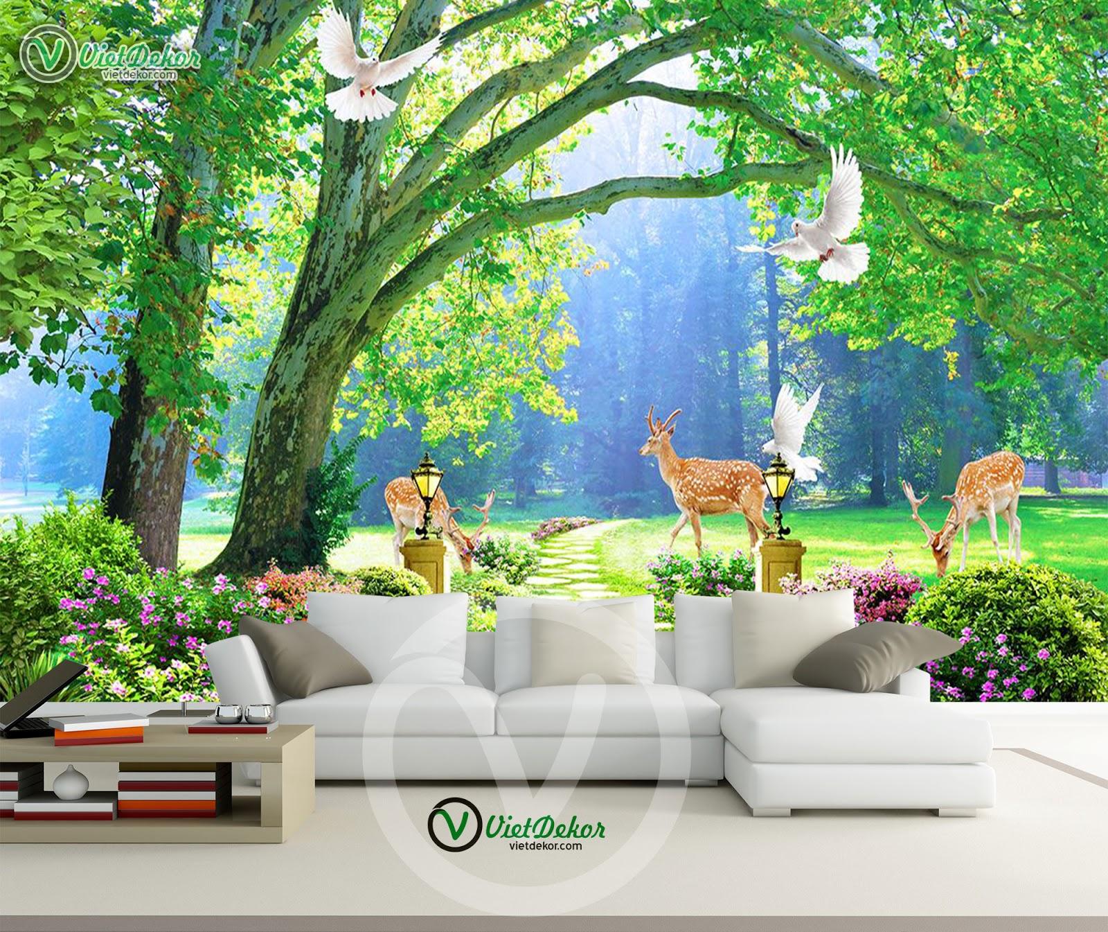 Tranh phong cảnh thiên nhiên cùng với những con lai cho phòng khách đẹp