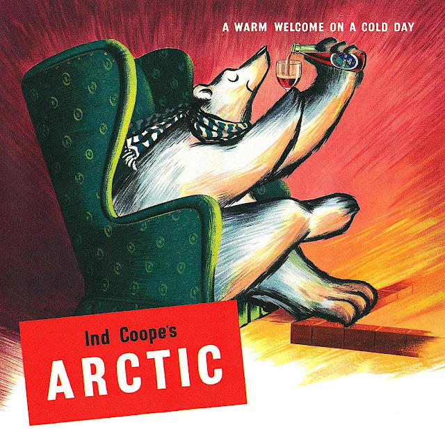 "a 1954 advertisement for Ind Coope's Arctic, a polar bear with a drink by a fireplace, ""A WARM WELCOME ON A COLD DAY"""