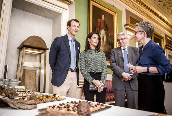 Princess Marie wore MARNI-Gathered printed silk crepe de chine blouse. Fyrstelige måltider book presentation at Amalienborg Christian VIII Palace