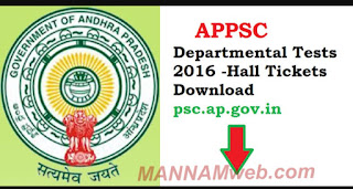 APPSC Departmental November Session Test Hall tickets Download