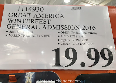 Deal for a general admission ticket to the Great America's WinterFest 2016 at Costco