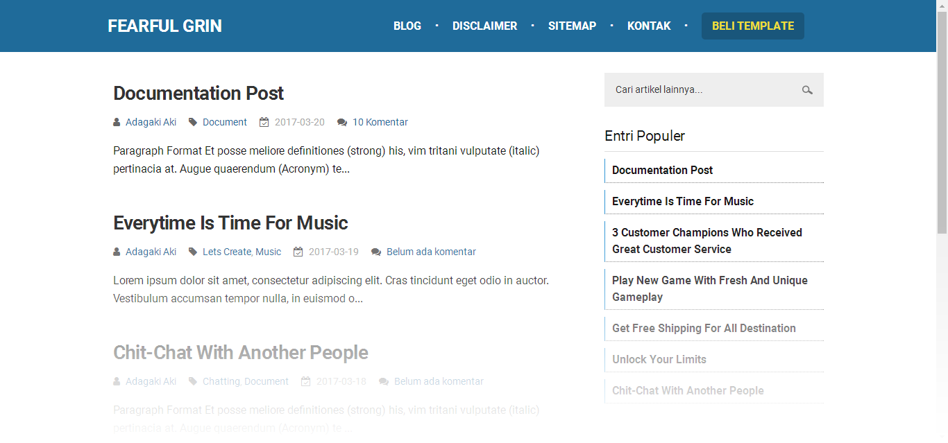 Tampilan Restrung Responsive Blogger Template Simple banget