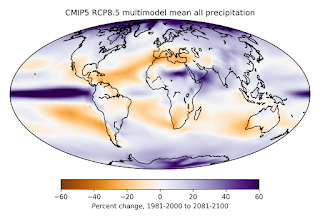CMIP5 RCP8.5 multimodel average percent change in total precipitation (rain and snow) between 1981-2000 and 2081-2100. Uses one run for each model, 38 models total. (Credit: Data from KNMI Climate Explorer; map by Carbon Brief) Click to Enlarge.