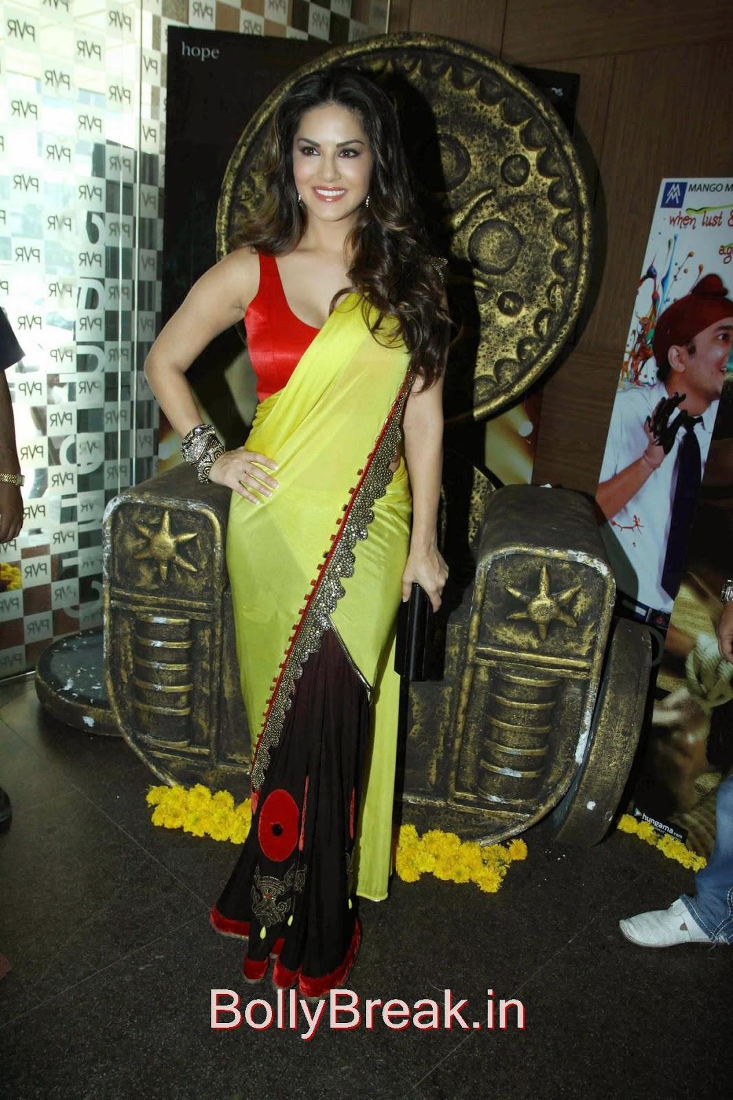 Leela Movie Actress Sunny Leone Hot Pics In Yellow Saree -3613