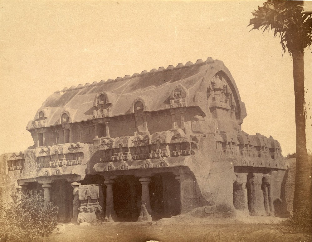 General view from the south-west of the Bhima Ratha, Mamallapuram, Tamil Nadu - c.1885