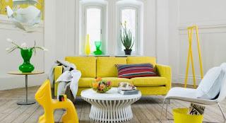 Decoración sala amarilla blanco