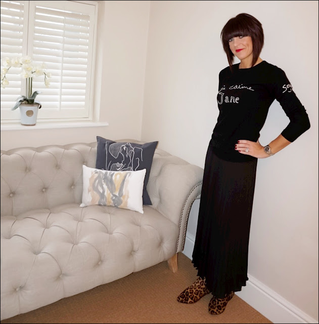 My Midlife Fashion, Bella Freud Je t'aime jane jumper, boden leopard print boots, hm pleated chiffon midi skirt