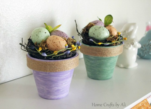 Colorfully Painted Spring Pots with Nests Home Crafts by Ali