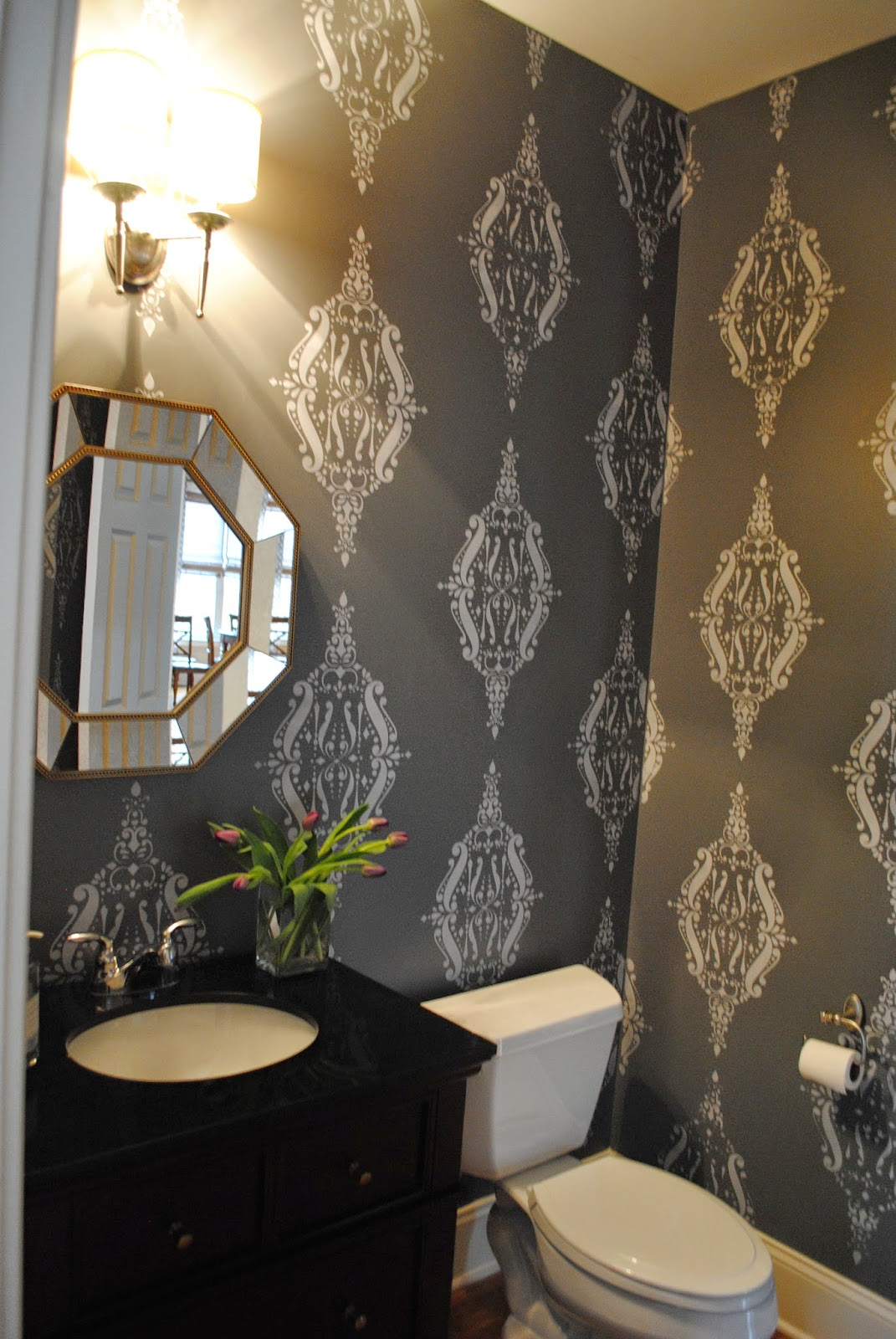 House by holly a bold dramatic powder room a stencil - What is a powder room ...