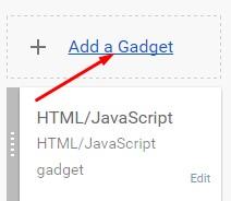 add a gadget par click kare