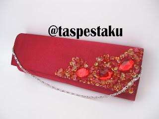 Handmade Tas Pesta Merah Maroon Payet Jawa Tengah Solo